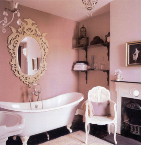 Elegant pink bathroom.