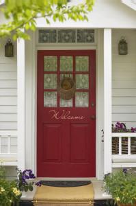 G.red front door. grey house