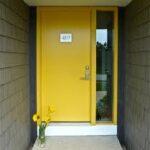GI modern yellow door. gray siding