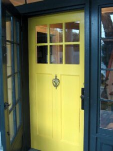 GI. greenYellow-Front-Door.dk teal trim