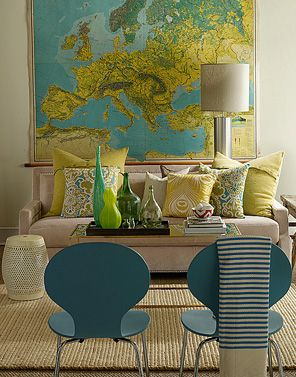 map wall.blue chairs