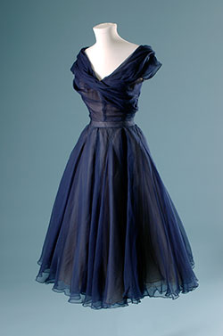Prussian Blue.ChristianDior eve dress. 1950. Paris