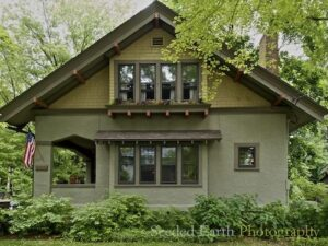 Classic Craftsman. 2 tone siding.gray yellow.greens